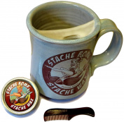 Stache Bomb Moustache Mug Pack with Moustache Wax and Comb
