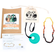 Baltic Amber Teething Necklace - Handmade in Lithuania - Lab-Tested Authentic - Comes with Silicone Teething Pendant