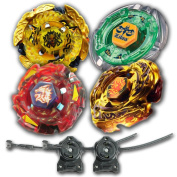 Beyblade Combo 4 Pack Hell Kerbecs + Meteo L-Drago Rush Red + L-Drago Gold Destructor + Flame Libra Metal Fusion 4D with 2x LL2 Launcher and Rip Cord // SHIPPED AND SOLD FROM US