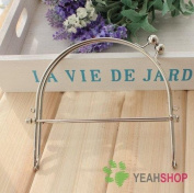 Silver Half Round Purse Frame with Handles - 15cm / 6 inch