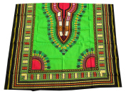 RaanPahMuang African Dashiki Colour Cotton Fabric Suitable for 1 Shirt Design, Lime Green