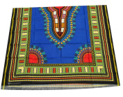 RaanPahMuang African Dashiki Colour Cotton Fabric Suitable for 1 Shirt Design, Dark Blue