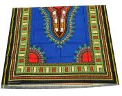 RaanPahMuang African Dashiki Colour Cotton Fabric Suitable for 1 Shirt Design, Dark Blue