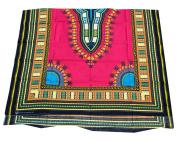 RaanPahMuang African Dashiki Colour Cotton Fabric Suitable for 1 Shirt Design, Medium Pink
