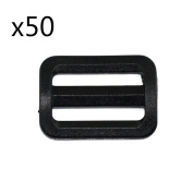 """EasyWisdom 50 PCS Black Colour 3/4"""" (20mm) Plastic Tri-glide Button Slides Buckles Designed for Camping Bag Belt Suitcase With Free Cable Organiser"""