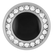 Ginger Snaps BLACK W/ CLEAR CRYSTALS SN09-40 (Standard Size) Interchangeable Jewellery Snap Accessory