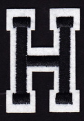 """LETTERS - 5.1cm Black & White Letter """"H"""" - Iron On Embroidered Applique"""