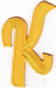 "LETTERS - Golden Yellow Script 5.1cm Letter ""K"" - Iron On Embroidered Applique"