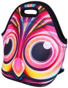 WATERFLY Stylish Colourful Owl Design Travel Outdoor Cooler Thermal Neoprene Lunch Bag Picnic Tote Box Container Insulated Zip Out Removable School Carry Handle Tote Lunch Bag