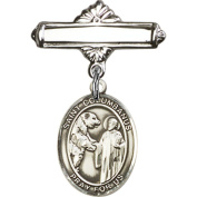 Sterling Silver Baby Badge with St. Columbanus Charm and Polished Badge Pin 2.5cm X 1.6cm