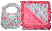 Unique Baby Bib and Blanket Gift Set Ruffled Edge Vintage Floral Print Blue