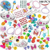 Joyin Toy 100 Pc Party Favour Toy & Accessory Assortment for Girls, Birthday Party, School Classroom Rewards, Carnival Prizes, Pinata Toy, Stocking Stuffers, Halloween Accessories