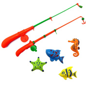 A-FOREST Bath Fishing Toy 4pcs 2 pole fishing toys with Enjoy Bathing Funtime Fishing Game Great Gift for Boys Girls for 3 Years Old Early Education