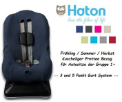 HATON ** Soft and Cosy Cover ** Spring / Summer / Autumn -- 3 AND 5 point harness system - Universal Replacement Cover for car seat size 1 like Maxi-Cosi Priori / SPS / XP, Römer King Plus / TS / Duo etc. ** NAVY BLUE **