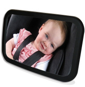 MAIYU Back Seat Mirror LARGER, CLEARER, SAFER Rear View Baby Mirror 360-DEGREE ADJUSTABILITY, CONVEX and SHATTERPROOF GLASS