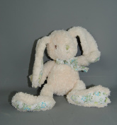 Plush Cream Bunny Rabbit with blue and green floral bow Paws Ears and Feet