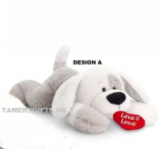 Keel Toys PATCH PUPPY Floppy Dog 46cm GREY AND WHITE LARGE Quality SOFT TOY With Heart New Gift