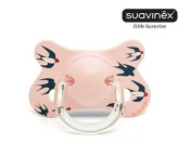 SUAVINEX PHYSIOLOGICAL SILICONE PACIFIER Soother Dummie (4-18m+) PINK BIRDS