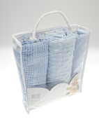 3PC BLUE MOSES BASKET SET BABY BEDDING KIT * CELLULAR BLANKET BUBBLE BLANKET FITTED SHEET...