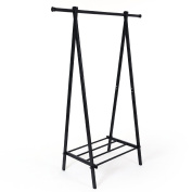 Songmics Stable Metal Clothes Rack with Storage Shelf 150 x 45 x 108 cm Black LLR11B