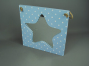 Baby Boys Blue Polka Dot Star Mirror with Rustic String for hanging