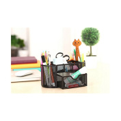 9 Slots Compartments Desk Organiser Pen Holder Rack OfficestationeryBlack