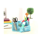 9 Slots Compartments Desk Organiser Pen Holder Rack OfficestationeryBlue