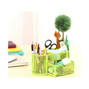9 Slots Compartments Desk Organiser Pen Holder Rack OfficestationeryGreen