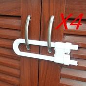 Yosoo 4pcs Baby Safety Cabinet U Shaped Locks - Durable Plastic Locks Sliding Lock for Child Safety - Kid Safety Drawer Door Cupboard Locks