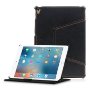 iPad Pro 9.7 Leather Case, MANNA UltraSlim iPad Pro Cover Multi-Angle Folio Smart Cover Genuine Leather | Easy Stand, Clever Strap & Auto Sleep | black - by LEICKE