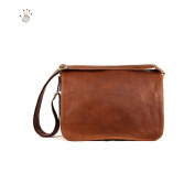 Men Shoulder Leather Bag Colour Brown - Leather Goods Made In Italy - Prestige Line