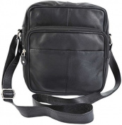 Primehide Soft Black Leather Unisex xbody Top Zip Organiser Shoulder Bag 1454