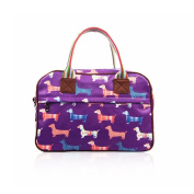 SALE Sausage Dog 'Cath Kidston' Designer Style Matte Canvas Overnight Weekend Bag