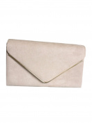 Beige Envelope Clutch Bag, Nude Faux Suede Evening Bag, Ladies Taupe Shoulder Bag, Prom Wedding Handbag
