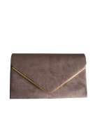 Grey Envelope Clutch Bag, Grey Faux Suede Evening Bag, Ladies Shoulder Bag, Prom Wedding Handbag