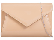 New ladies compact patent faux leather glossy envelope clutch bag In NUDE wedding prom evening handbag