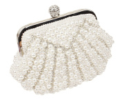 COCOSO Women Satin Clutches Evening Bags Wedding Party Handbag Purses with Pearl Rhinestone White Black