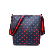 Blue & Red Medium Spotty Polka Dot Matte Oil Coated Canvas Cross Body Messenger Bag Handbag