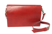 Officina Libris - Shoulder Bag In Naturally Tanned Italian Leather For Man/ Woman. Handmade In Italy.