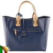 Shoulder bag, Eleonora blue, genuine leather, Made in Italy, Dimensions in cm