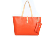 Drasawee Large Women Commuter Belt Buckle Shoulder Bag PU Leather Colourful Fashion Shopping Handbags Orange