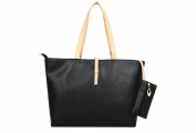 Drasawee Large Women Commuter Belt Buckle Shoulder Bag PU Leather Colourful Fashion Shopping Handbags Black