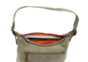CACTUS Canvas And Distressed Oiled Leather Shoulder Bag CL812_81 Khaki