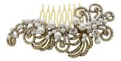 Pick A Gem Bridal Wedding Vintage Style Gold Crystal & Pearl Cluster Hair Slide Side Comb