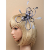 Silver Fascinator on Headband/ Clear Comb for Weddings, Races and Occasions