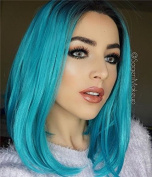 Uniwigs® Heat Friendly Synthetic Fibre Lace Front Straight Wig, Ombre Colour Medium Hair Length Hairstyle Wig