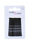 20pc Standard 4.5cm Kirby Grips Hair Bobby Pins Clips Black