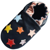 Carozoo Colourful Stars Dark Blue Baby Boys Soft Sole Leather Shoes