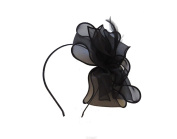 BEAUTIFUL BLACK BOW STYLE FASCINATOR ON HEADBAND FOR WOMEN RACES WEDDING