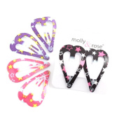 6 Heart Hair Clips perfect for girls parties with star designs